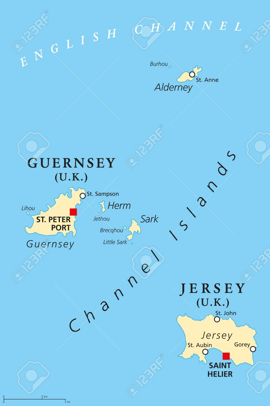 Guernsey And Jersey, Political Map, With Capitals. Channel Islands ...