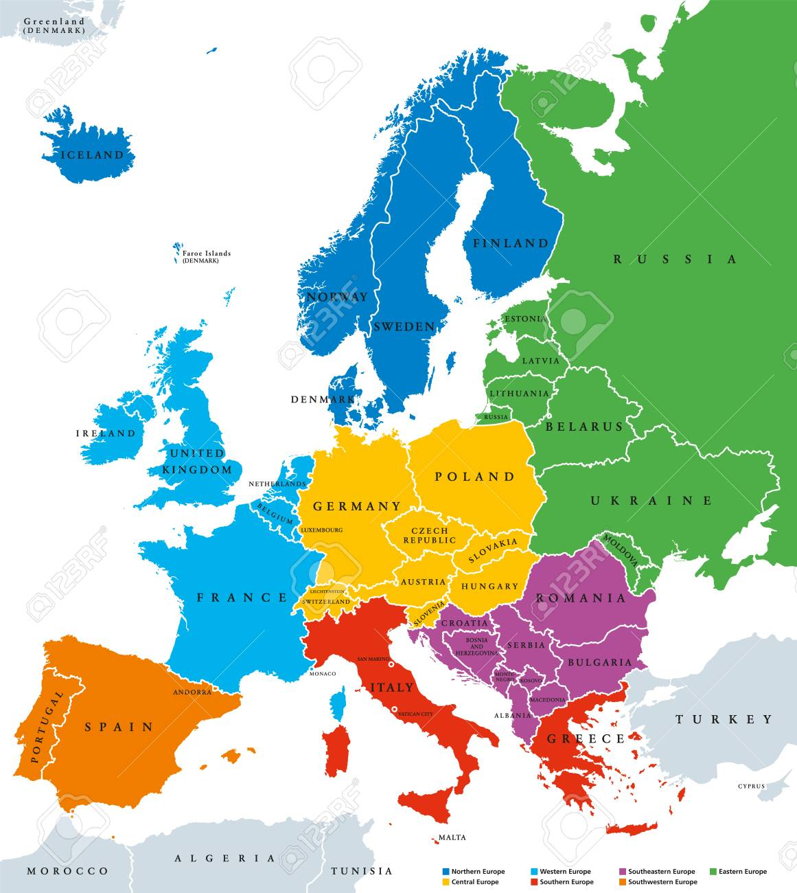 Regions Of Europe Political Map With Single Countries And English