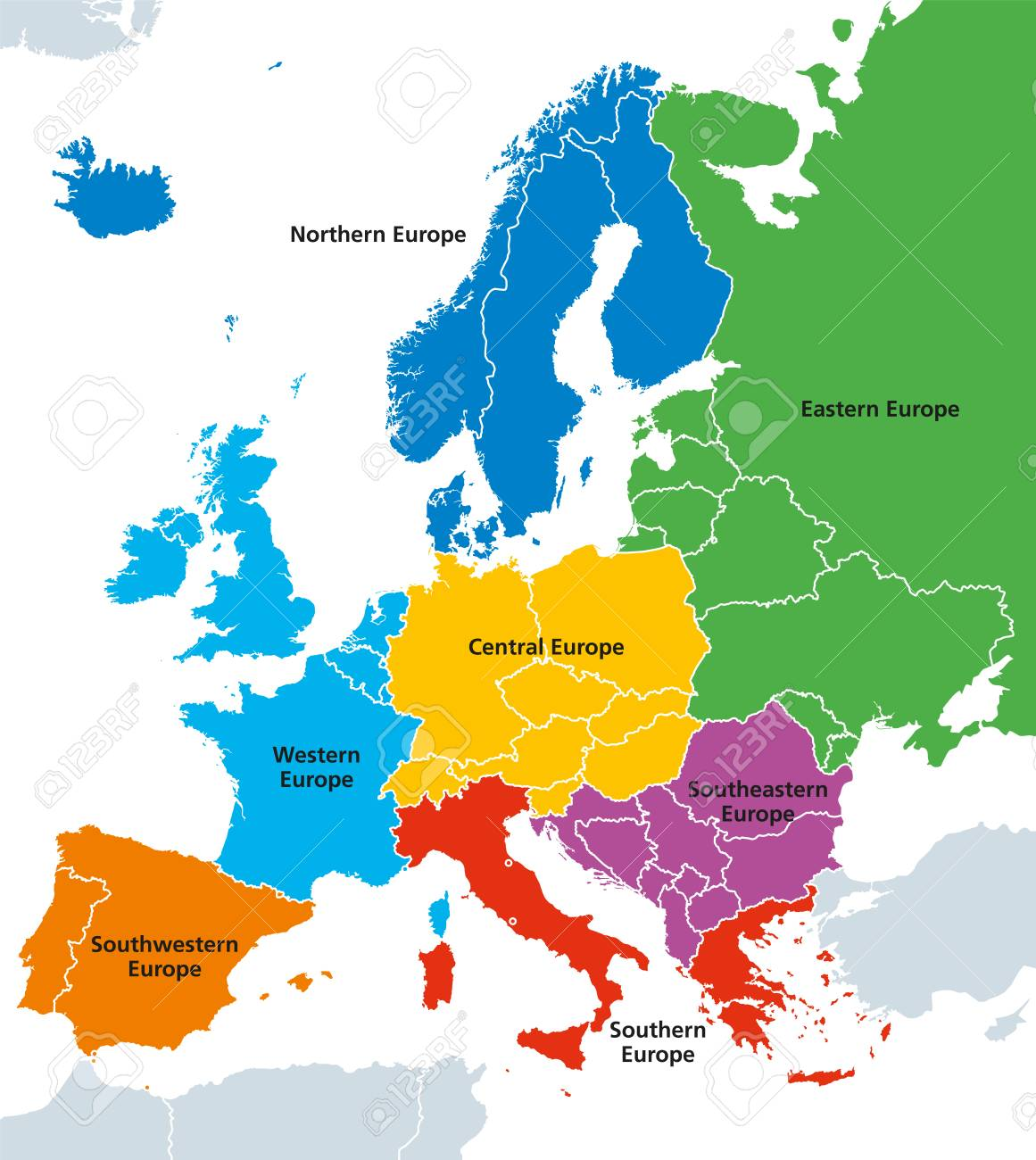 Europe regions with single countries. English labeling. Illustration Vector. - 96114539