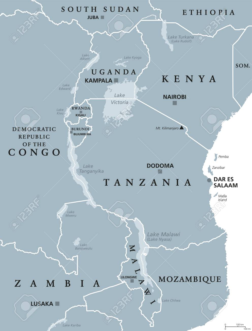 Lake Malawi Africa Map.African Great Lakes Political Map With Capitals And Borders