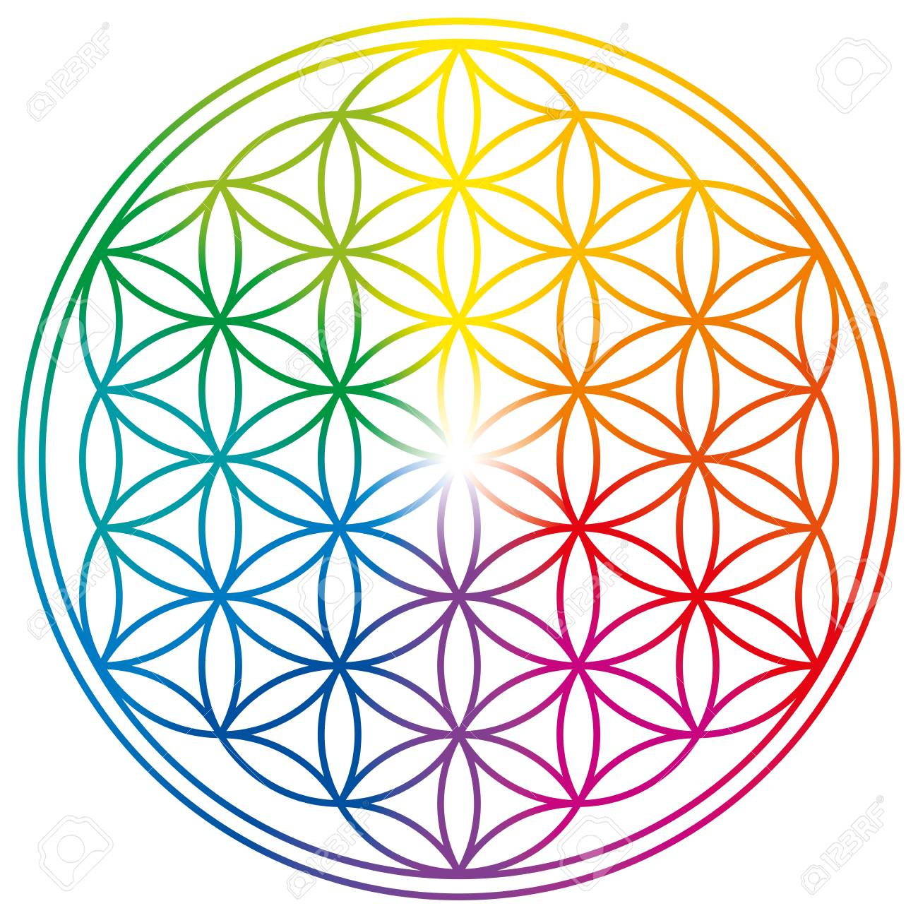 Flower of Life in rainbow colors  Geometrical figure, spiritual