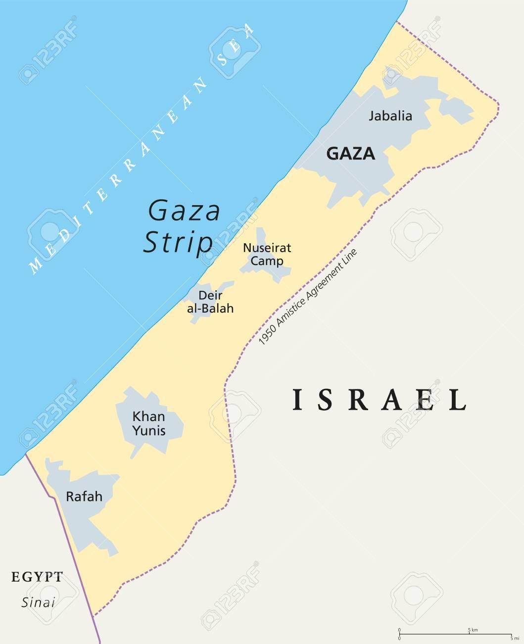 Mediterranean Political Map.Gaza Strip Political Map Self Governing Palestinian Territory