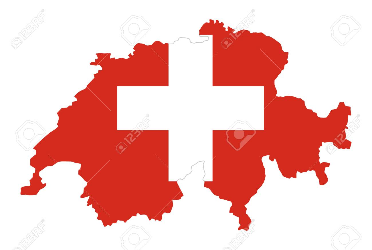 Flag Of Switzerland In Country Silhouette Landmass And Borders