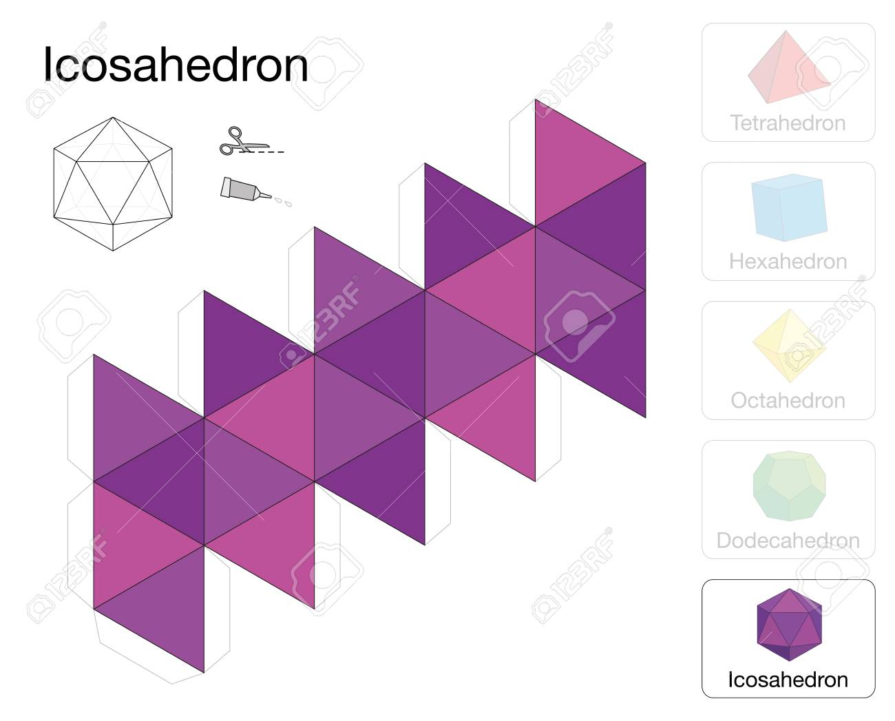 Icosahedron Platonic Solid Template. Paper Model Of A Icosahedron ...