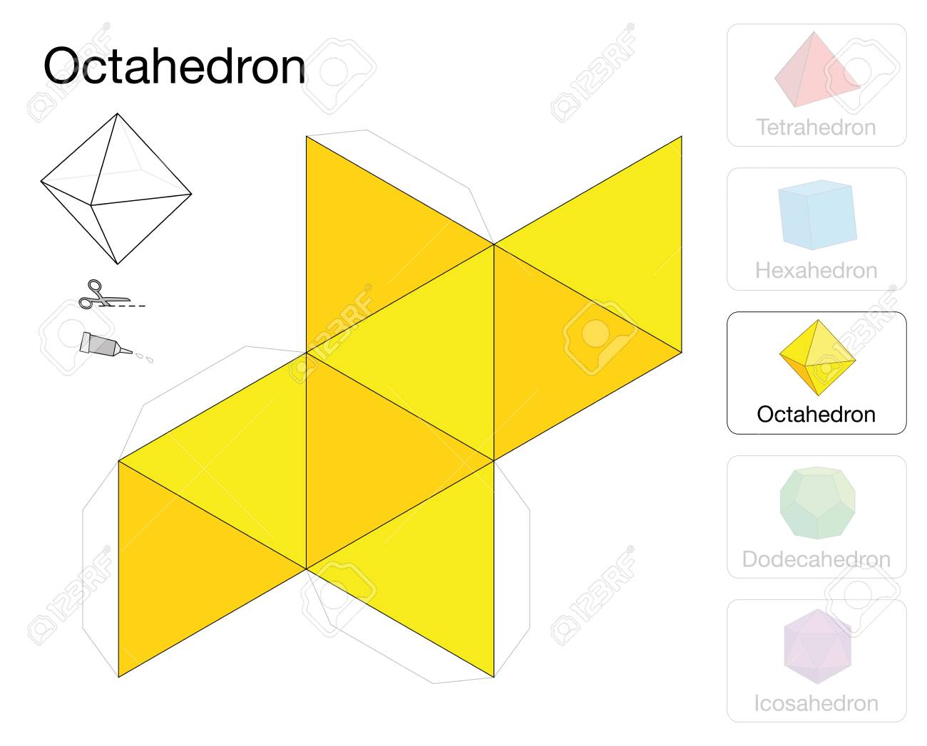 Octahedron Platonic Solid Template Paper Model Of A Octahedron