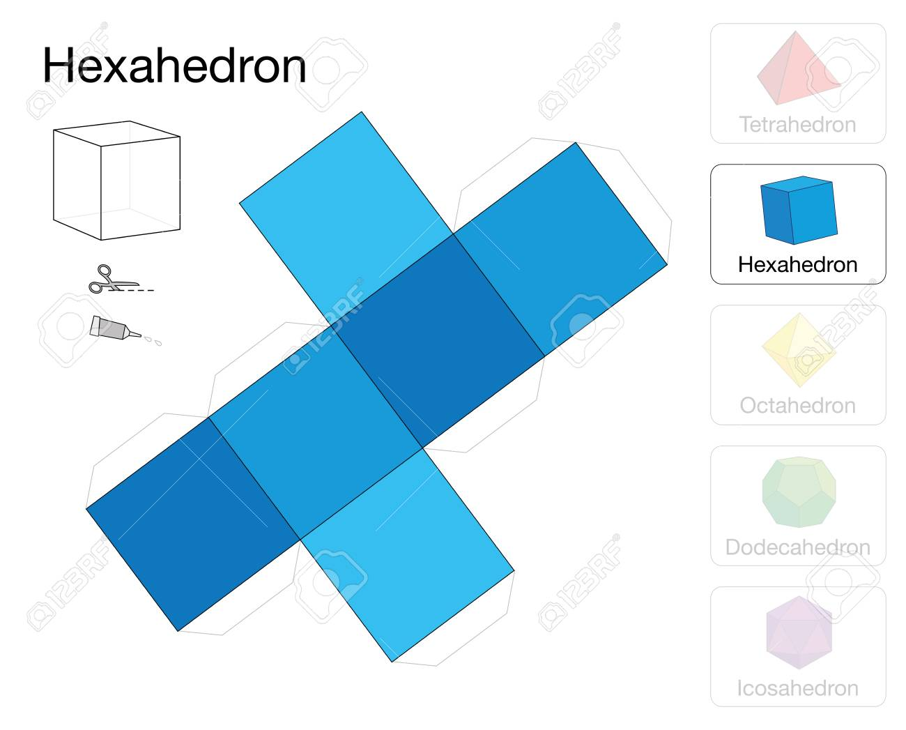 Hexahedron Platonic Solid Template. Paper Model Of A Cube, One ...