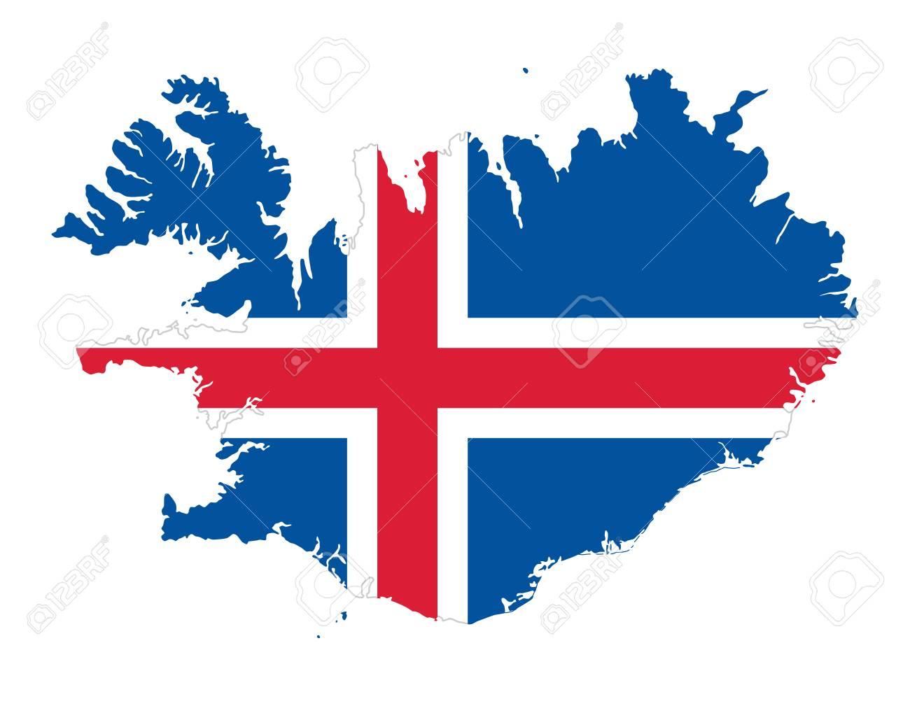 Flag Of Iceland In The Country Silhouette Blue Field With White