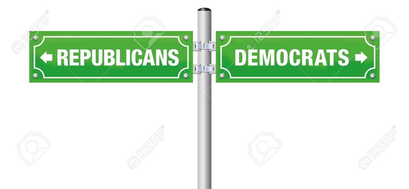 REPUBLICANS or DEMOCRATS, written on street signs to choose ones favorite party, government, politics, ideology - isolated vector illustration on white background. - 105459174