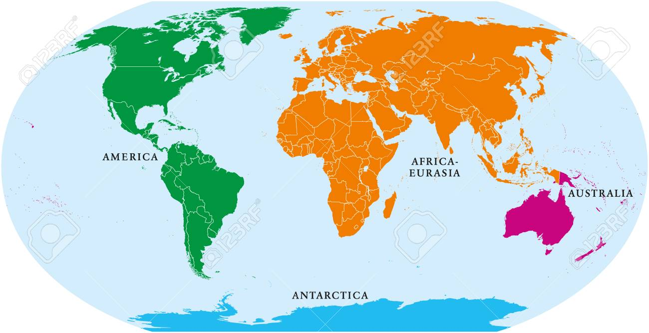 africa and america map Four Continents World Map America Africa Eurasia Australia africa and america map