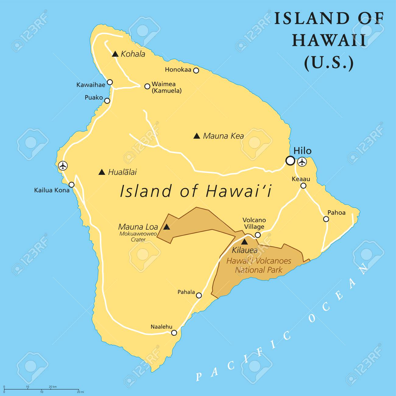 Picture of: Island Of Hawaii Political Map Largest Island Located In The Royalty Free Cliparts Vectors And Stock Illustration Image 103796246