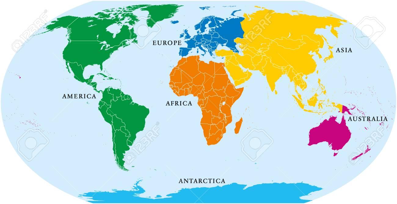 Six continents world, political map. America, Africa, Antarctica,..