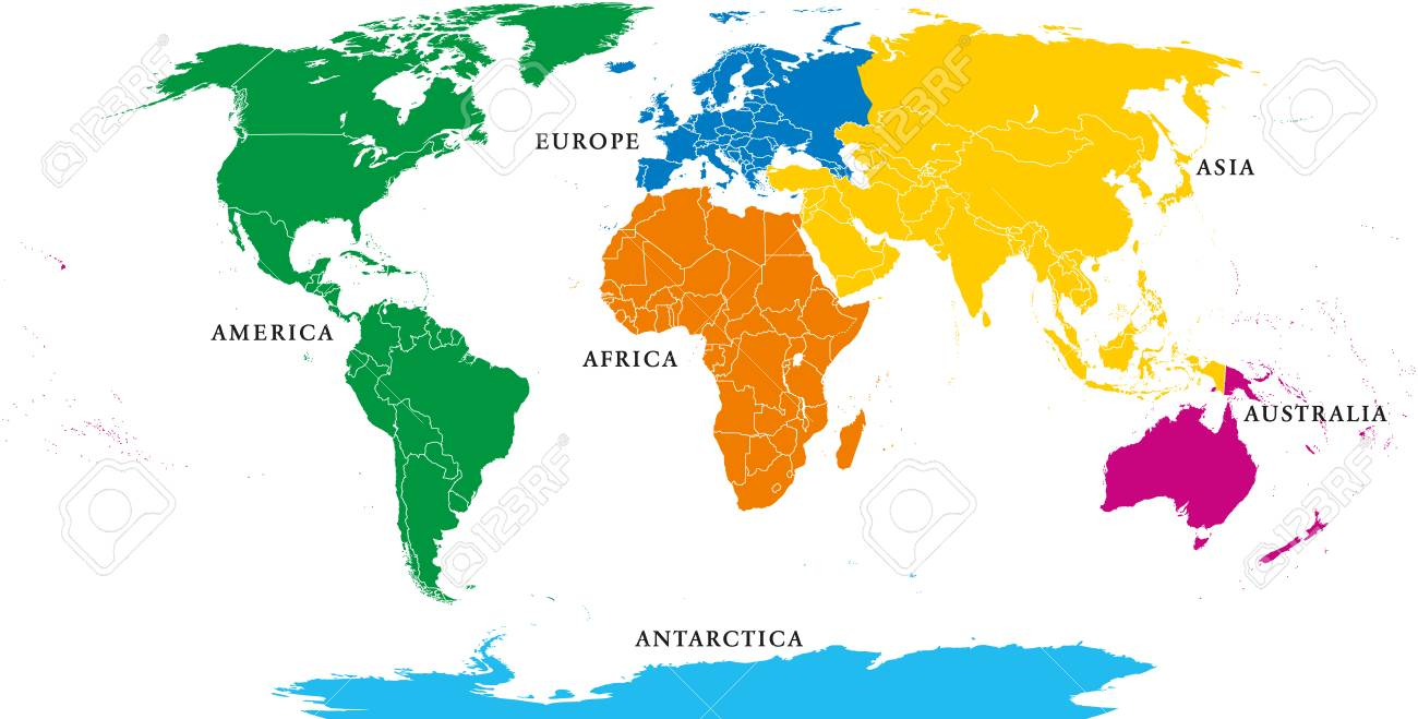 Labeled Map Of Europe And Asia.Six Continents Political World Map With Borders Africa America
