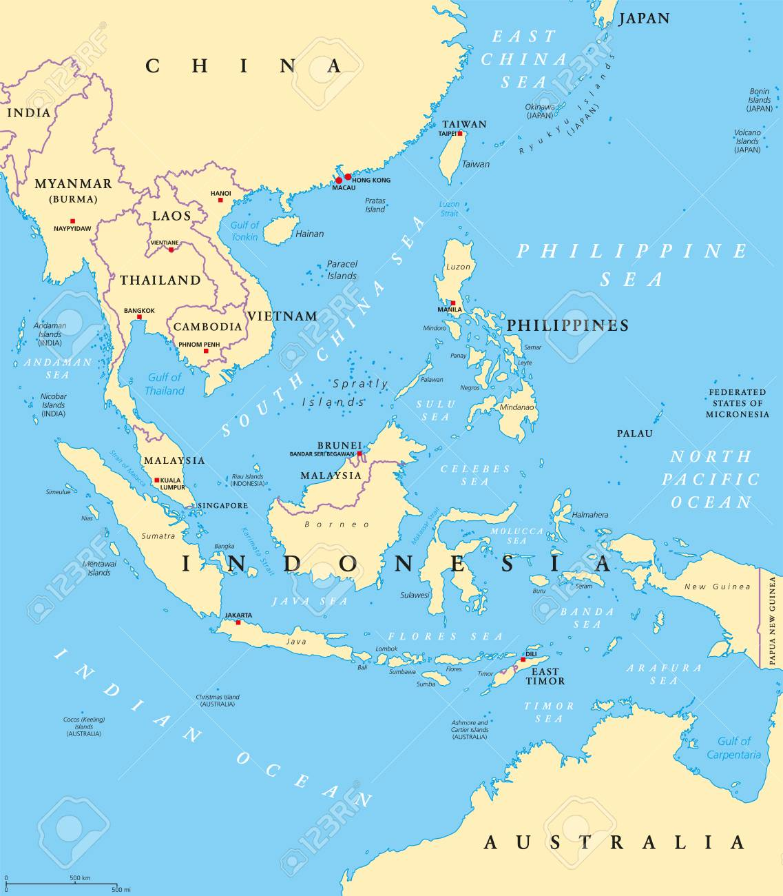 Political Map Of Southeast Asia With Capitals.Southeast Asia Political Map With Capitals And Borders Subregion