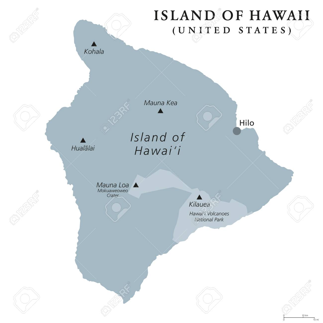 Island of Hawaii, gray colored political map. Largest island..