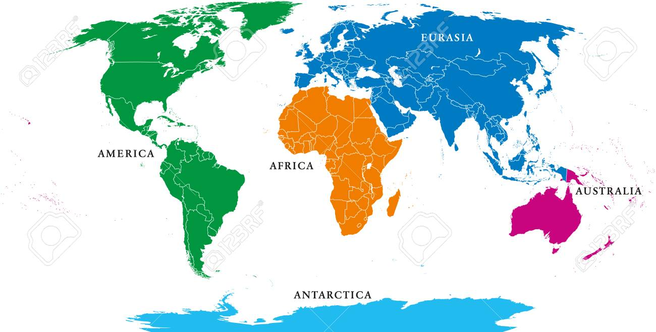 Five continents, political world map, with borders. Africa, America,..