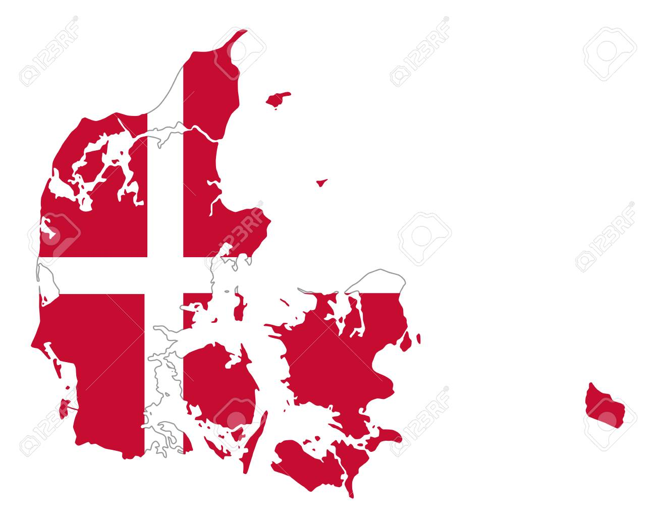 Flag Of Denmark In Country Silhouette Danish National State
