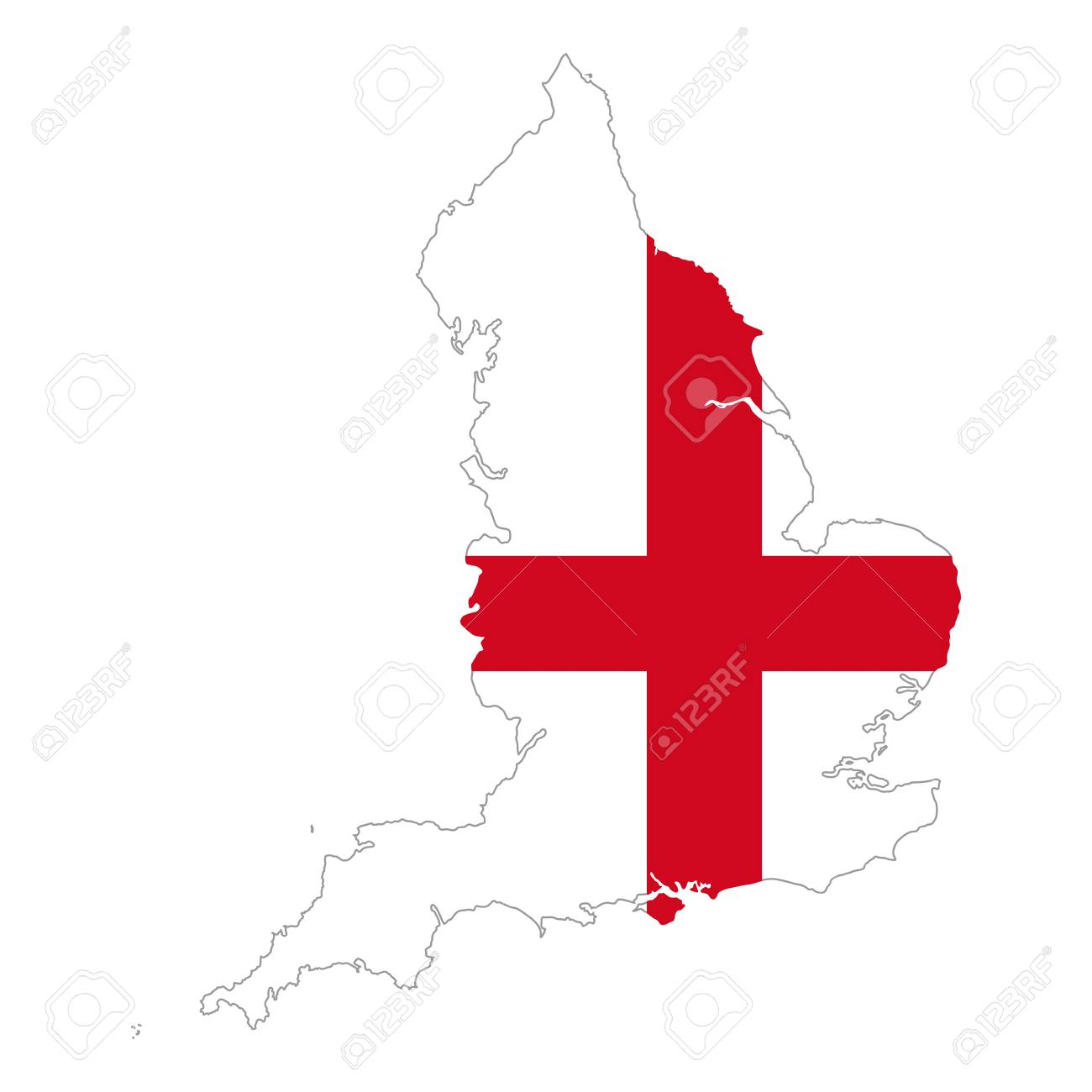 Flag Of England In Country Silhouette A Red St George S Cross