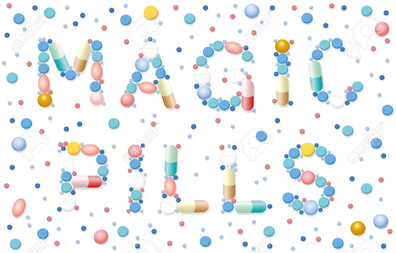 Magic pills written with pills, tablets, capsules - miracle cure
