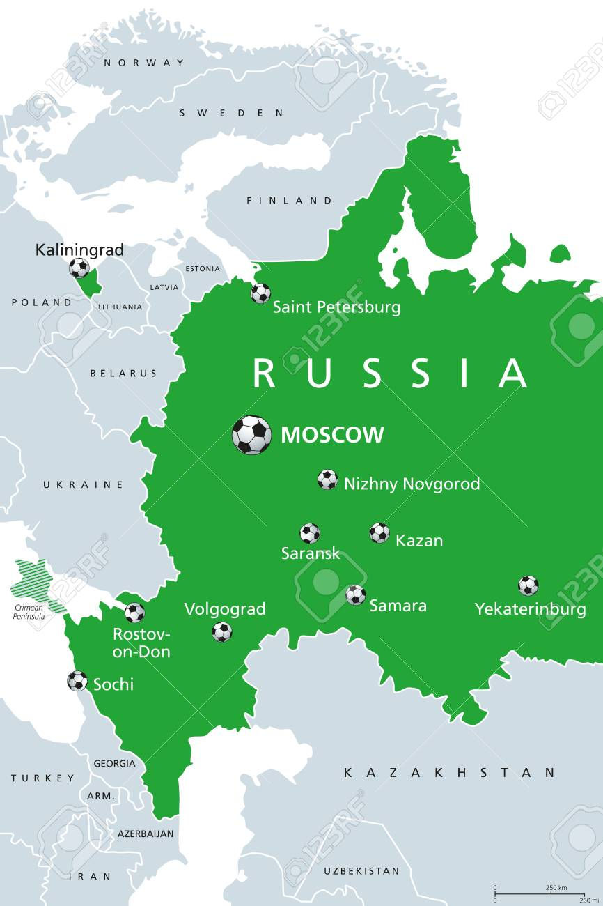 Football In Russia 2018 Map Of Venues Soccer European And