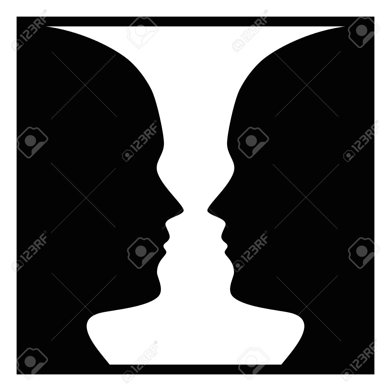 Figure-ground perception, face and vase. Figure-ground organization. Perceptual grouping. In Gestalt Psychology known as identifying a figure from background. Isolated illustration over white. Vector. - 104926913