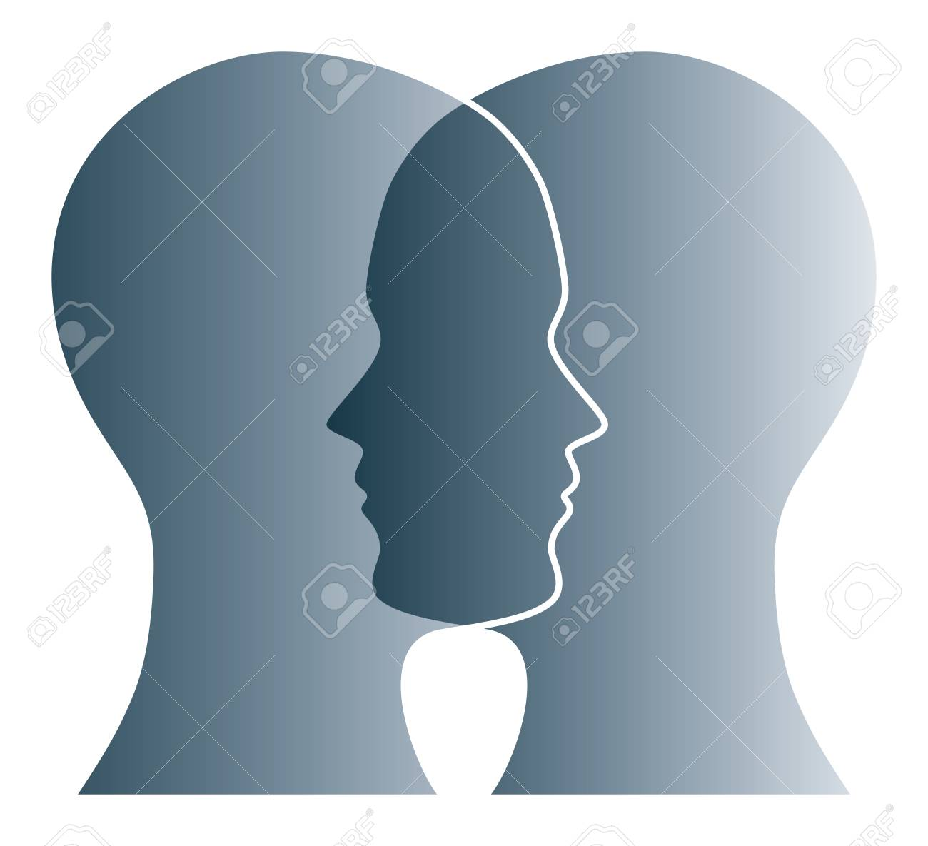 Gray silhouettes of two heads on white background. Two overlapping faces as symbol for anxiety, uncertainty, doubt and other psychological problems and questions. Isolated illustration. Vector. - 105481044