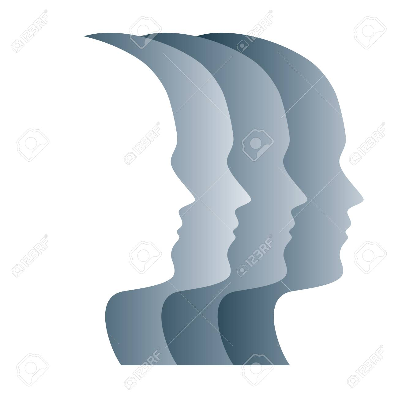Gray silhouettes of faces, positioned in a straight row. Four overlapping heads, as a symbol for egality, marching in step, military, obedience and loss of identity. Psychology. Illustration. Vector. - 105481046