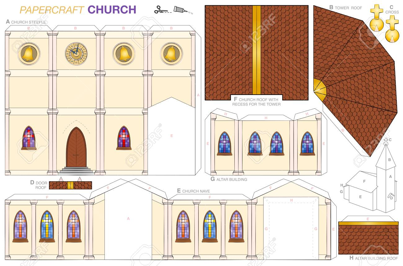Church building paper craft model  Cut-out sheet for making a