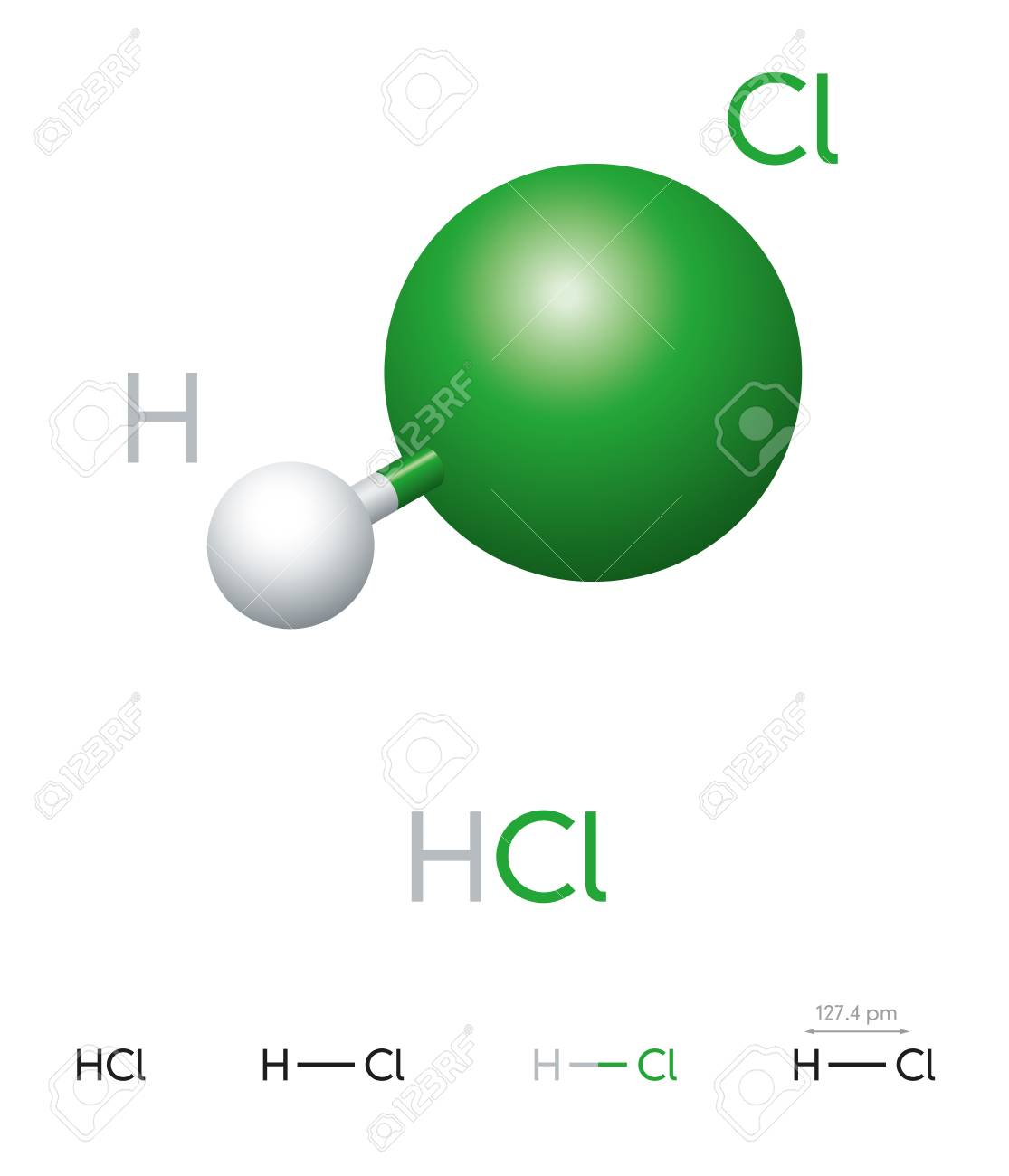 HCl. Hydrogen chloride. Molecule model, chemical formula, ball-and-stick model, geometric structure and structural formula. Hydrogen halide. Hydrochloric acid. Illustration on white background. Vector - 110188178
