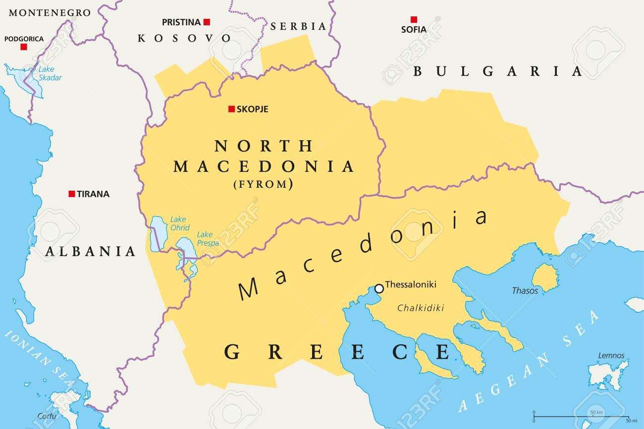 Macedonia Region, Political Map. Region Of The Balkan Peninsula ...