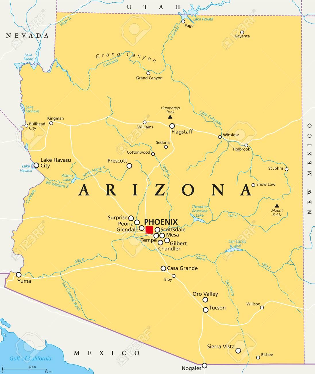 Arizona political map with capital Phoenix, important cities,..