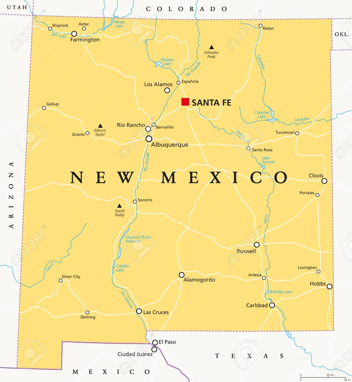 New Mexico, political map, with capital Santa Fe, borders, important..