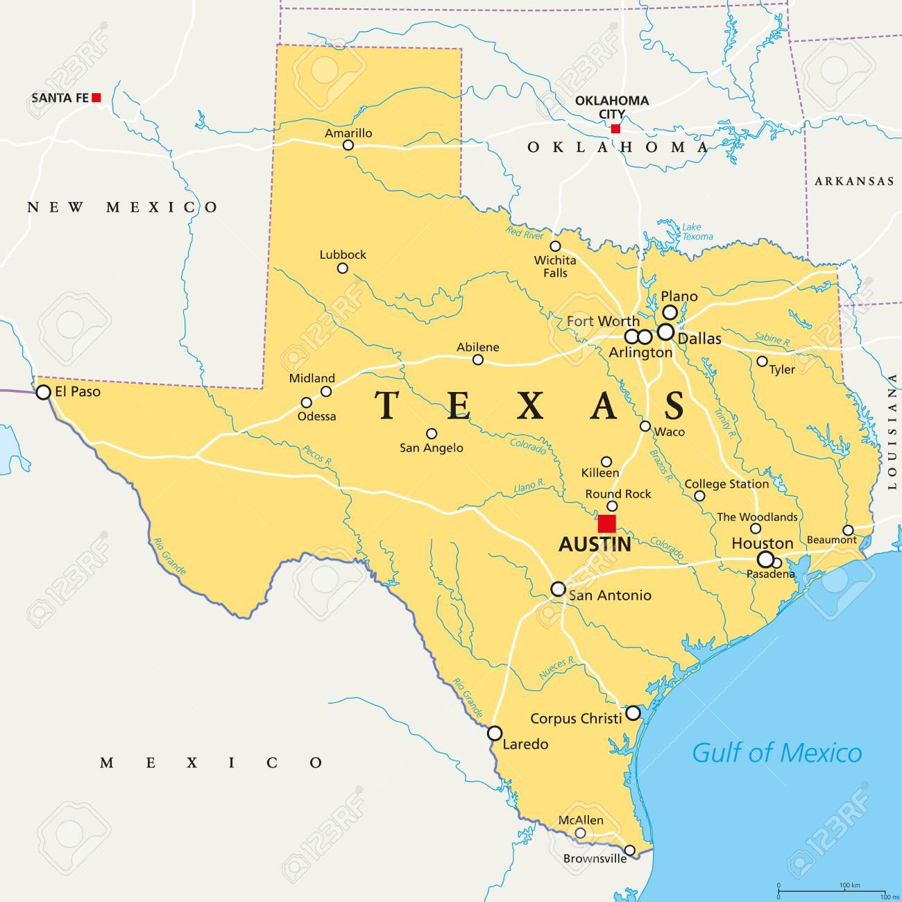 Texas Political Map With Capital Austin Borders Important