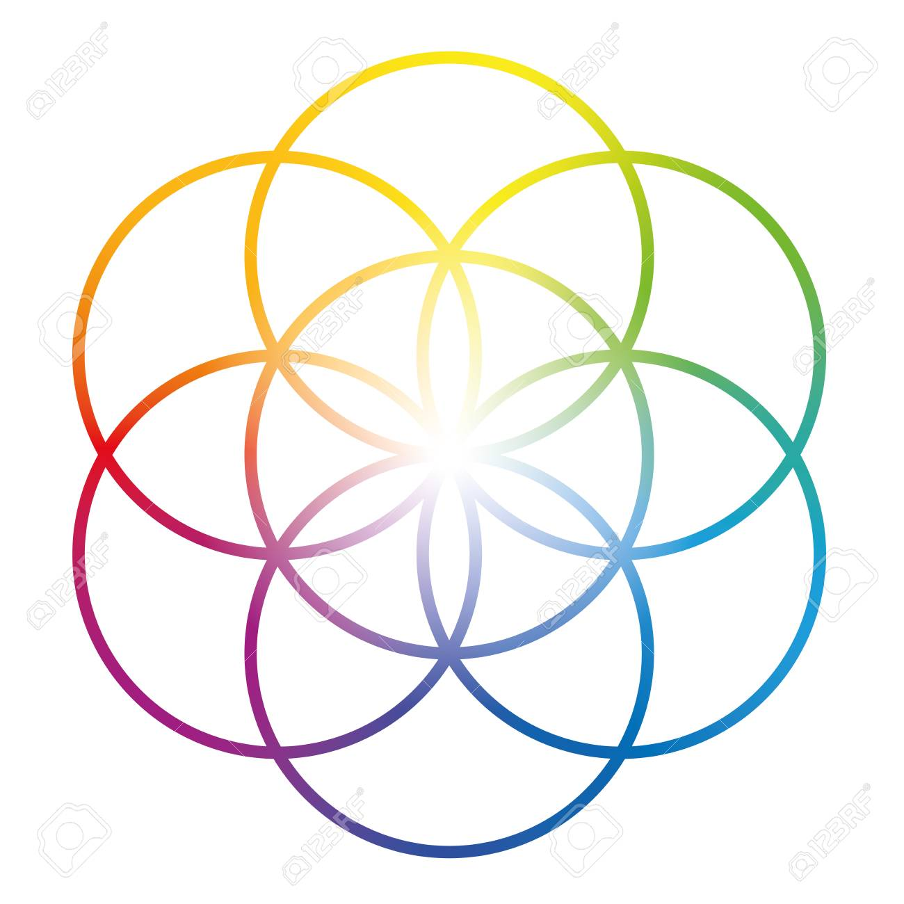 Rainbow colored Seed of Life. Precursor of Flower of Life symbol. Unique geometrical figure, composed of seven overlapping circles of same size, forming the symmetrical structure of a hexagon. - 121011089