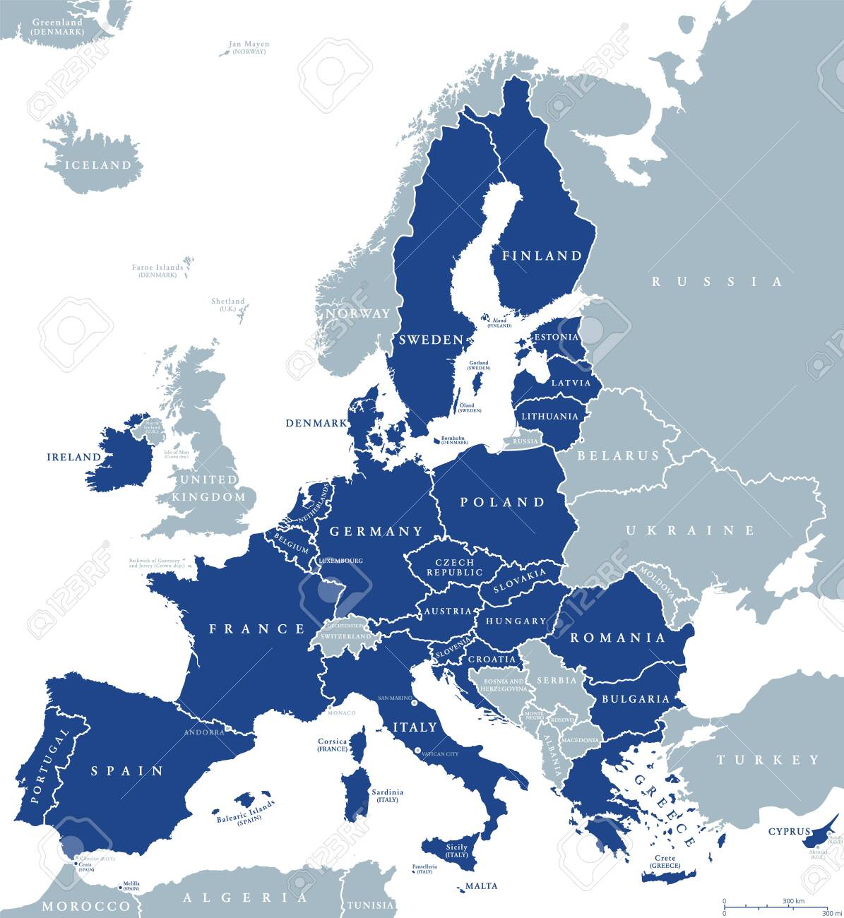 Map of European Union member states after Brexit, English labeling. 27 EU member states, after United Kingdom left. Special member state territories are not included in the map. Illustration. Vector. - 144903358