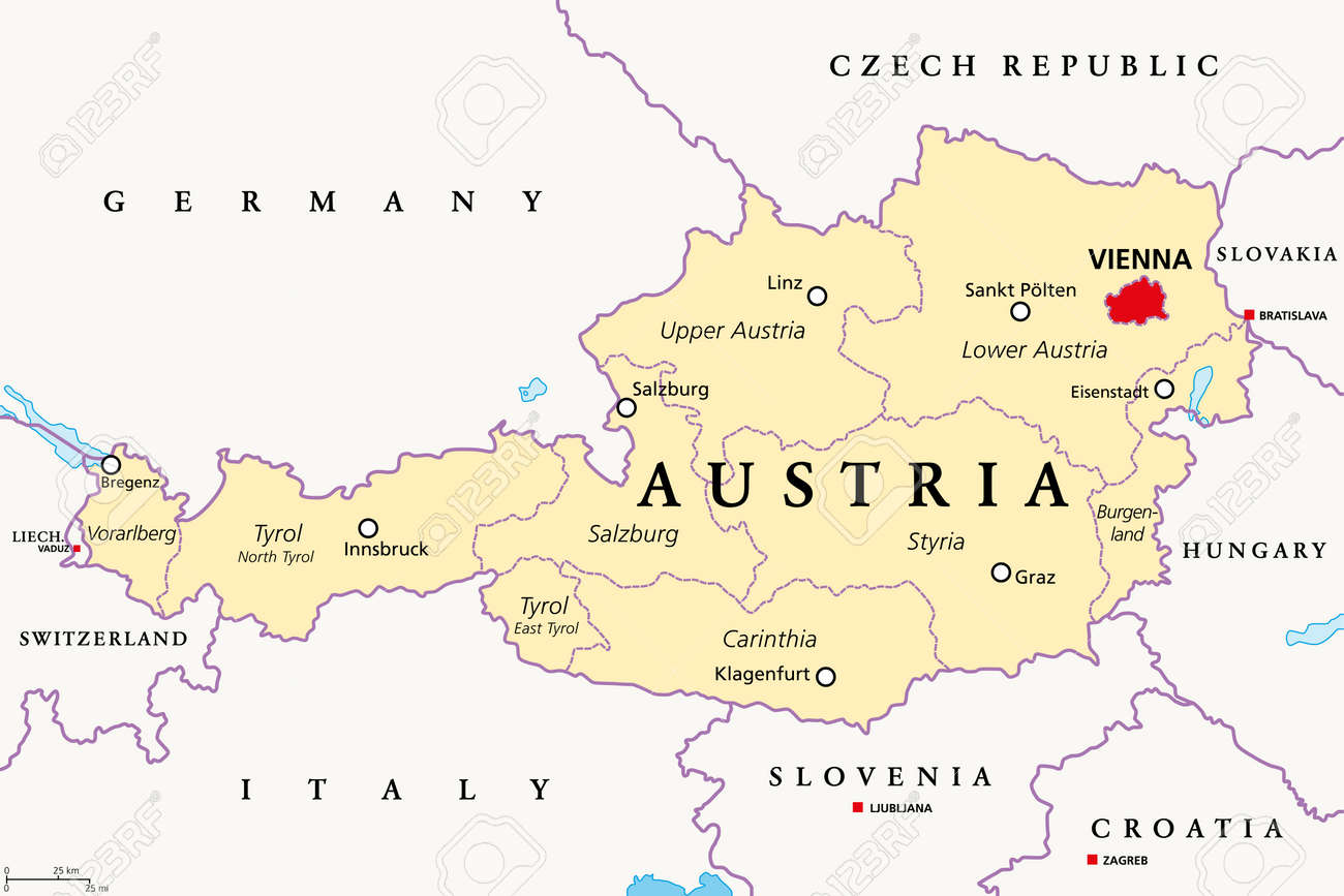 Austria, political map, with the capital Vienna, nine federated states and their capitals. With borders and the neighbor countries. English labeling. Illustration. Vector. - 167790212