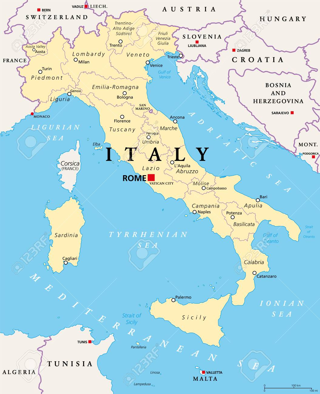 Italy, political map, administrative divisions. Italian Republic with capital Rome, 20 regions and their capitals, international borders and neighbor countries. English labeling. Illustration. Vector. - 142686115