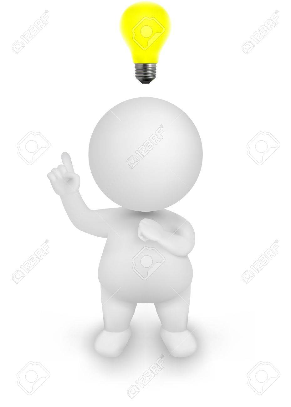 3d Man Illustration having an idea with discover gesture and lightbulb above his head. - 13699568