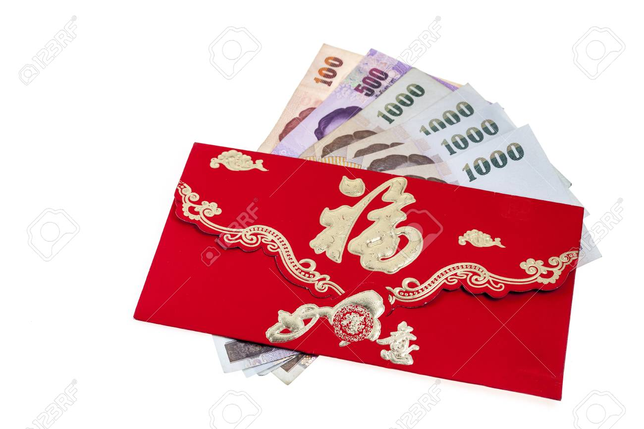 Chinese New Year Money In Red Envelopes Gift On White Background