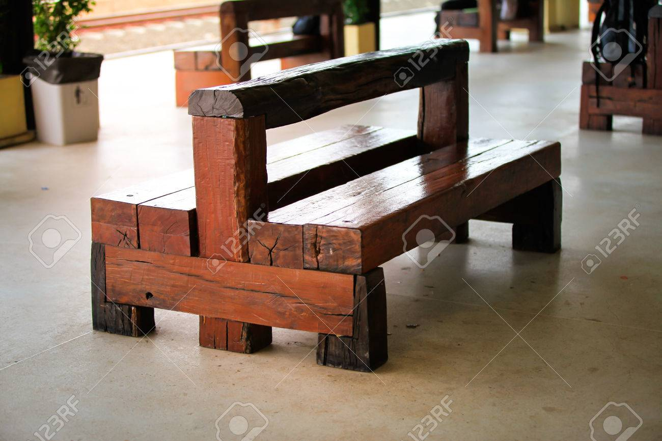 Recycle wooden chair made of wooden railway sleepers in train station. Stock Photo - 65022343 & Recycle Wooden Chair Made Of Wooden Railway Sleepers In Train ...