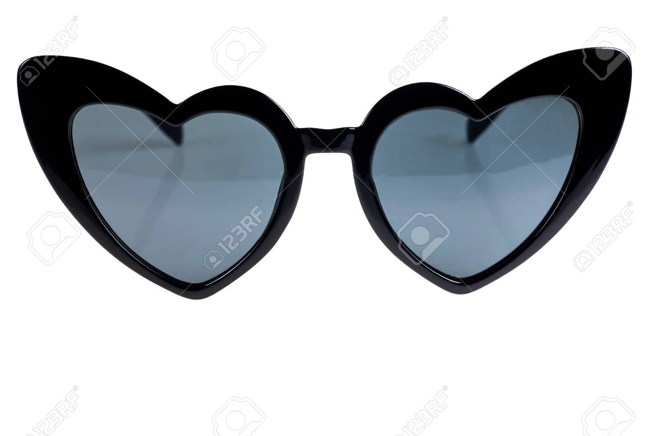 6f55928f10 Source · Black Heart Shaped Sunglasses On A White Background Stock Photo