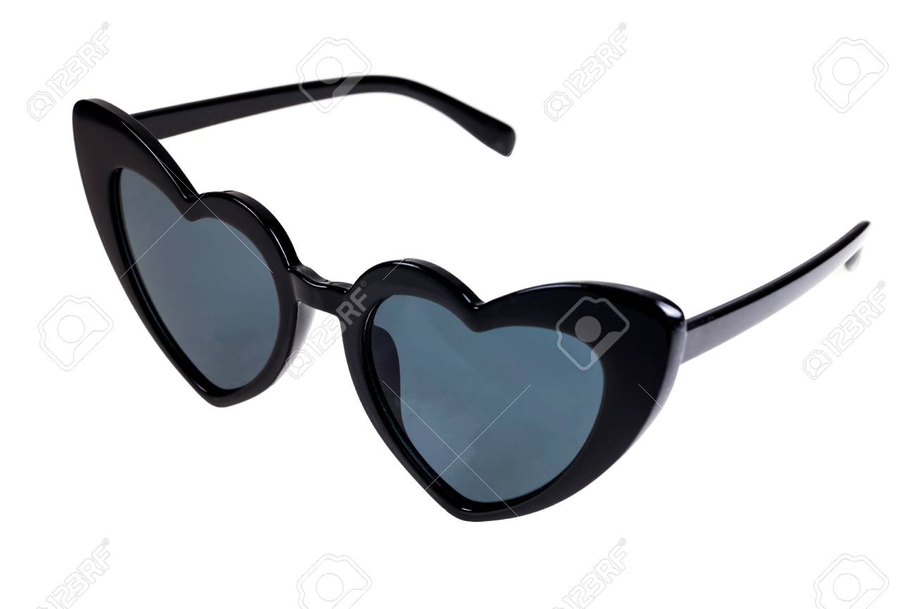 0ada922ebd Black heart shaped sunglasses on a white background. Stock Photo - 95456344