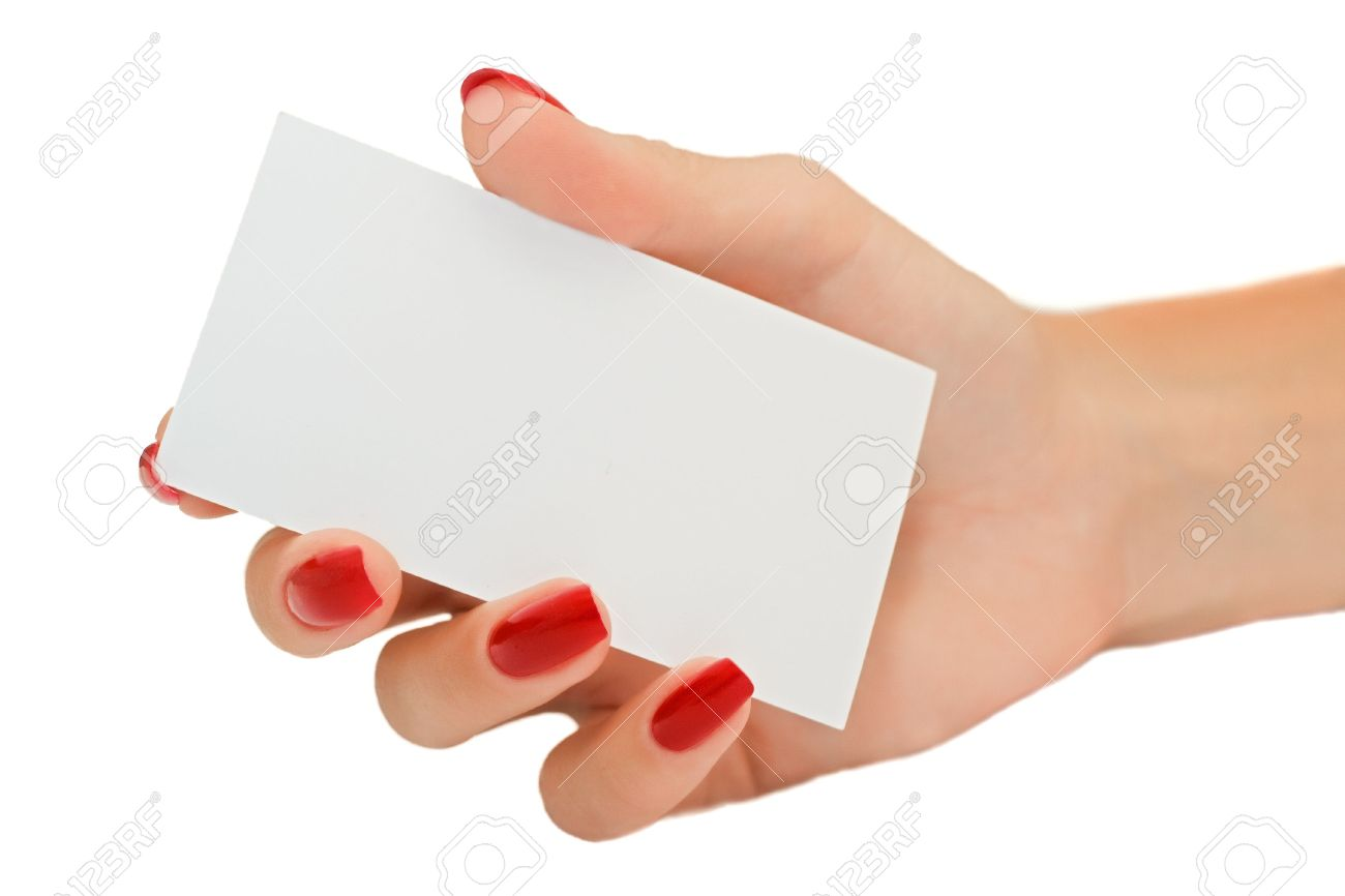 Nice female hand holding a blank business card stock photo picture nice female hand holding a blank business card stock photo 5484007 colourmoves