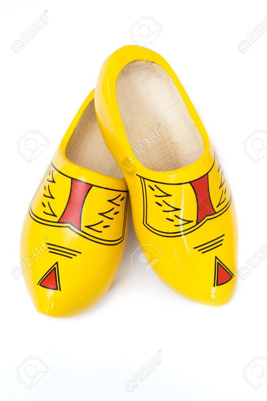pair of wooden shoes klompen traditional dutch footwear for