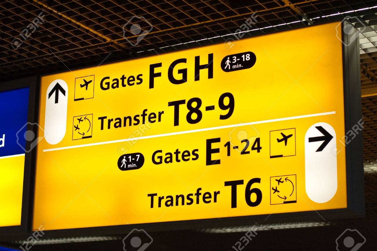 Information sign in airport. Gates and transfer directions Stock Photo - 5712693