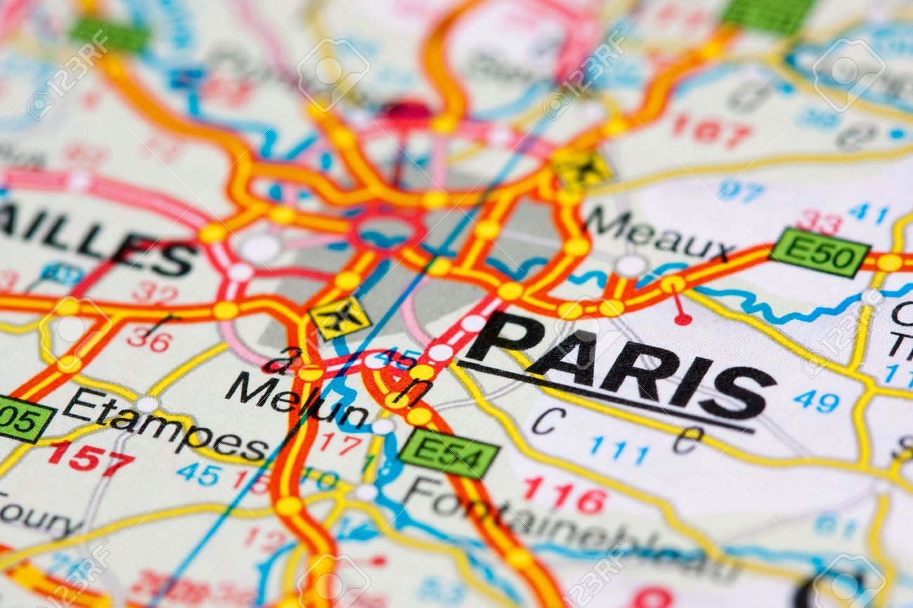 close up of a road map near paris france swallow dof stock photo