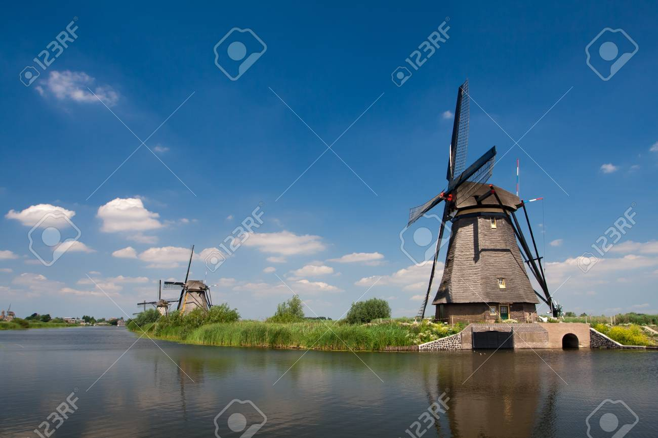 Traditional dutch windmill in famous Kinderdijk, The Netherlands