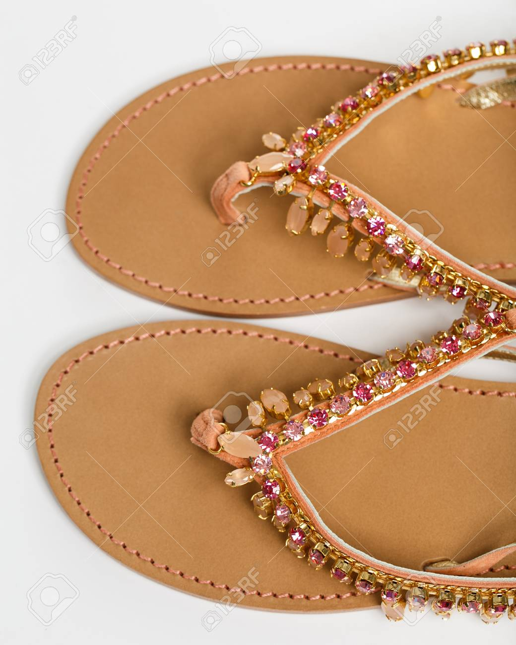bf707e31fe4 The woman summer sandals isolated on a white background Stock Photo -  40268036