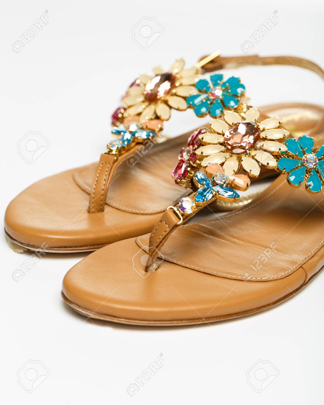 7a0e290bf69 The woman summer sandals isolated on a white background Stock Photo -  40269431