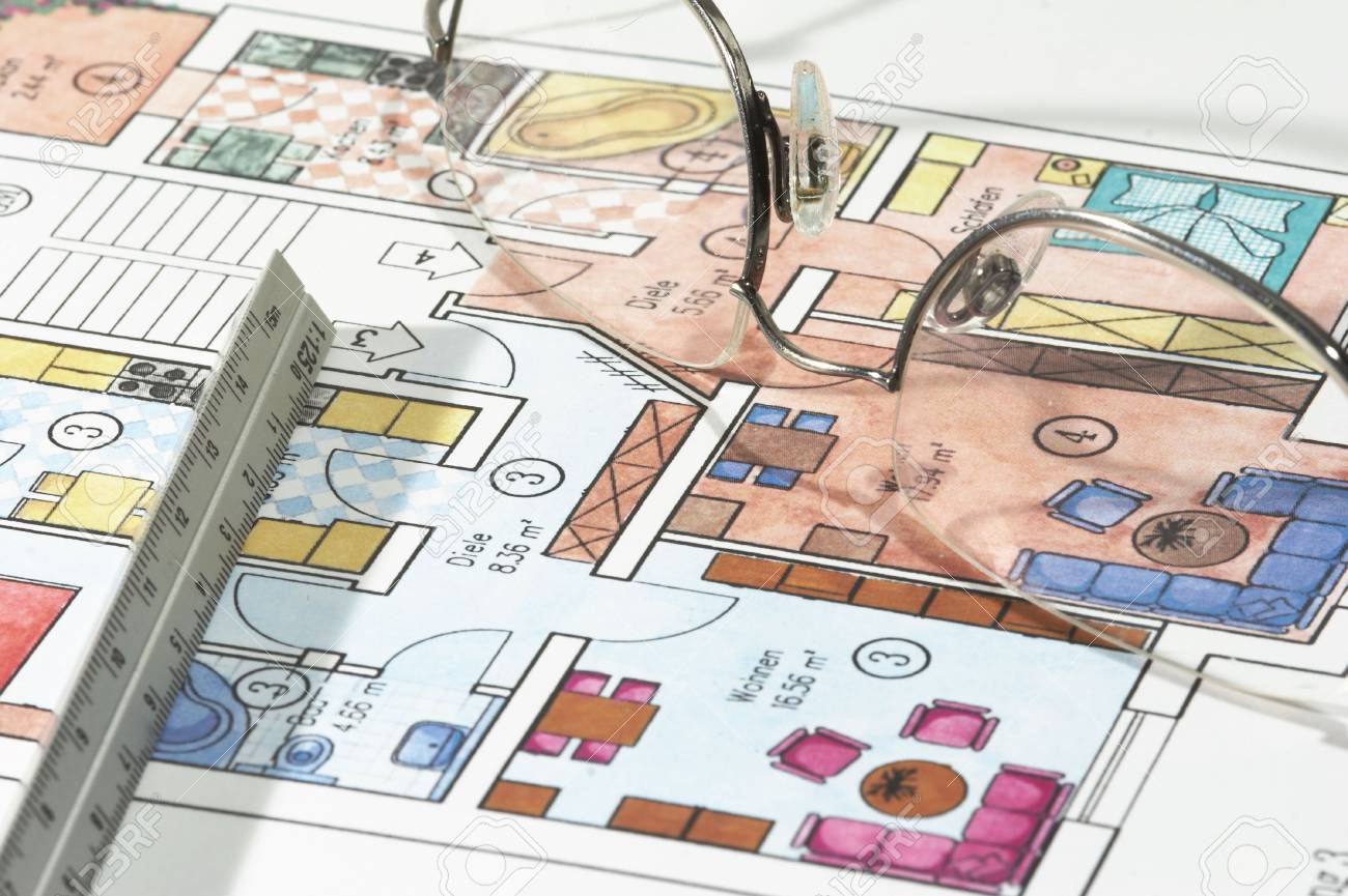 Colored plans of apartment, ruler and glasses Stock Photo - 709031