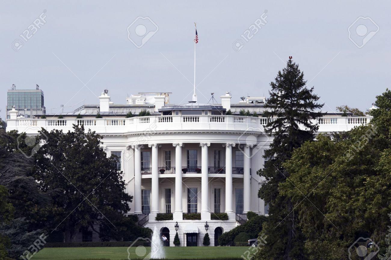 Banque dimages vue de larrière de la maison blanche à washington dc la maison du président des états unis damérique etats unis